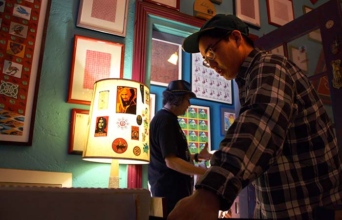 People at LSD Museum framed art and gallery space