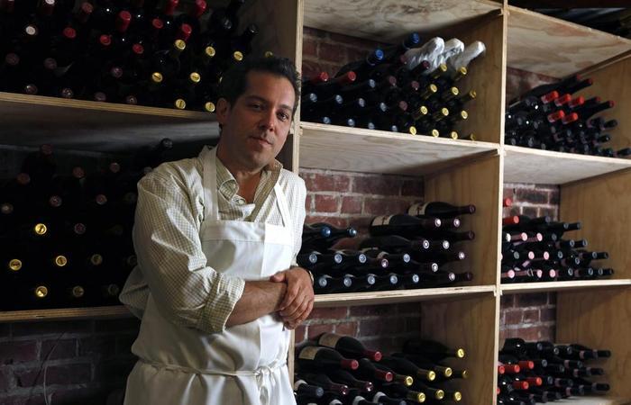 Heirloom Café Chef Matt Straus in the wine cellar