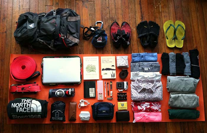 All the things you wear in your bag when travelling