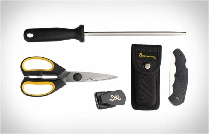 Game shears, sharpening steel, LED cap light and small pocket knife from Browning Butcher Kit