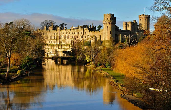 Warwick Castle next to the moat