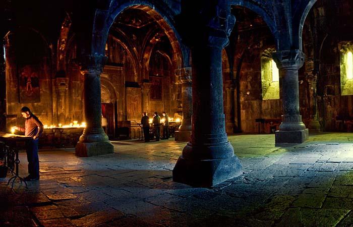 Inside Geghard monastery Armenia