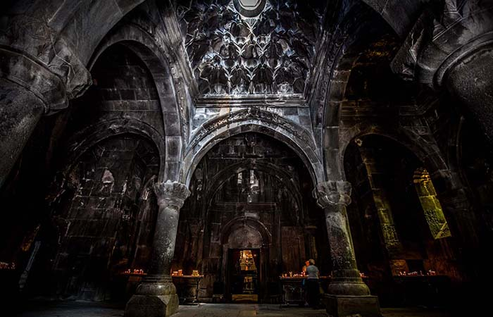 Columns and ceiling of Geghard monastery