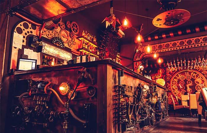 The steampunk bar in Enigma Cafe, Romania