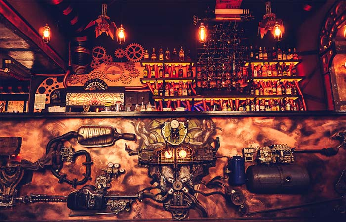 Details on the bar in Enigma Cafe