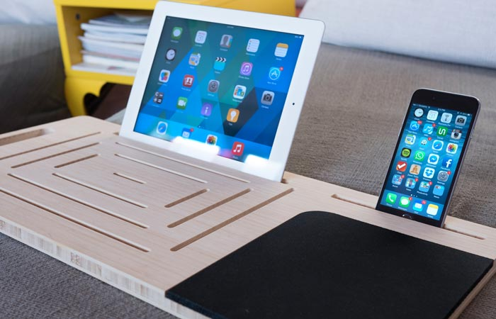 Smartphone and tablet table made of bamboo