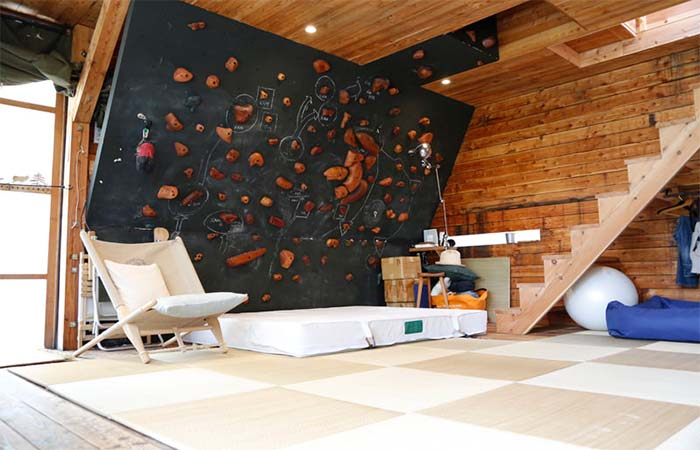 Living room area in mountain cottage in Japan