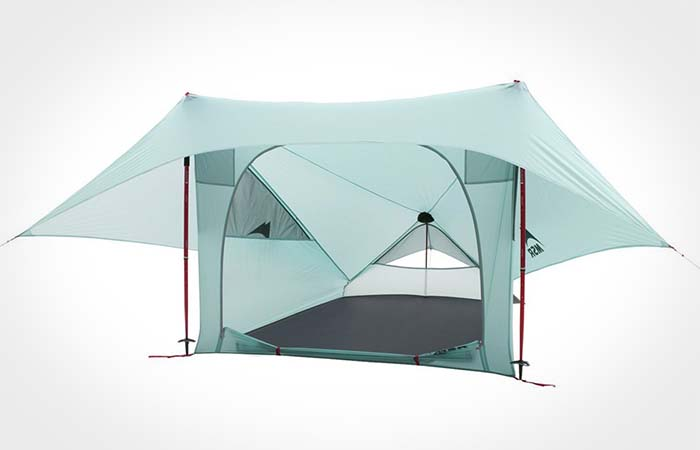 The front side of MSR Flylite 2-Person Trekking Pole Tent