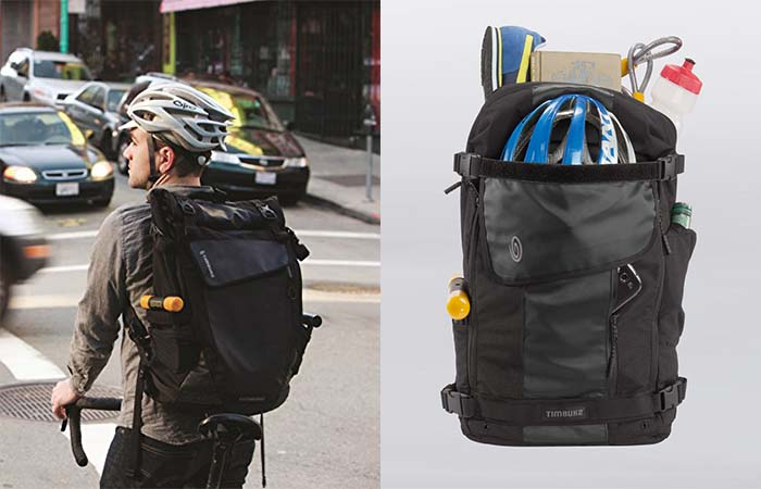 Timbuk2 Especial Medio Backpack with stuff in it and a guy on a bike wearing it