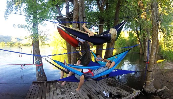 several hammock connected to each other