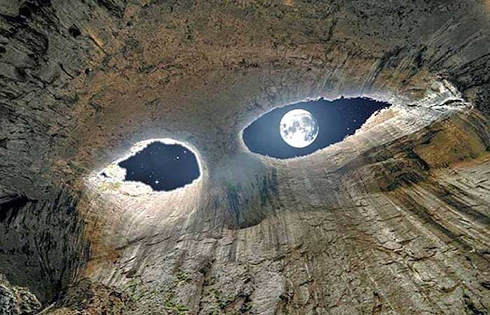 Moon from a cave