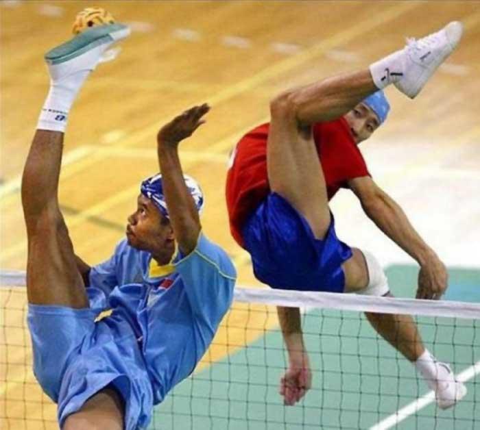 Two sportsmen in weird positions