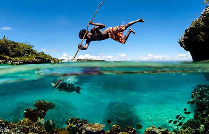 A fisherman catching fish