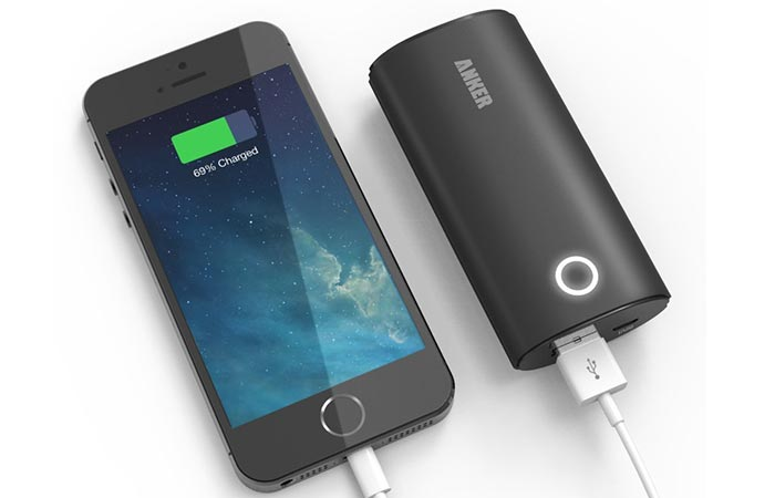Anker 2nd Gen Astro 6400mAh Portable Charger charging iPhone