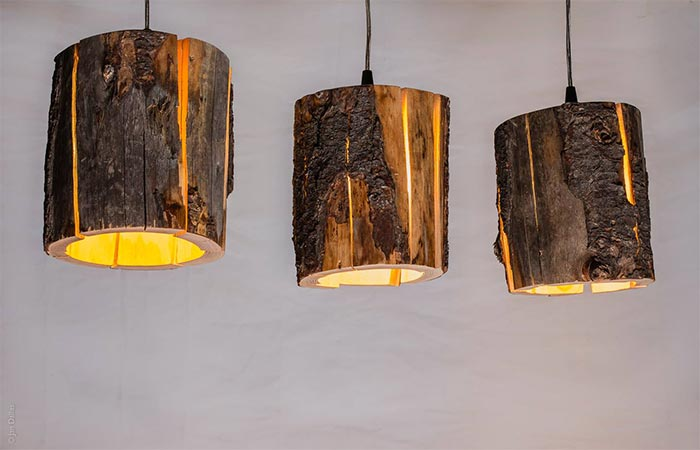 Cracked Log Lamps On The Ceiling