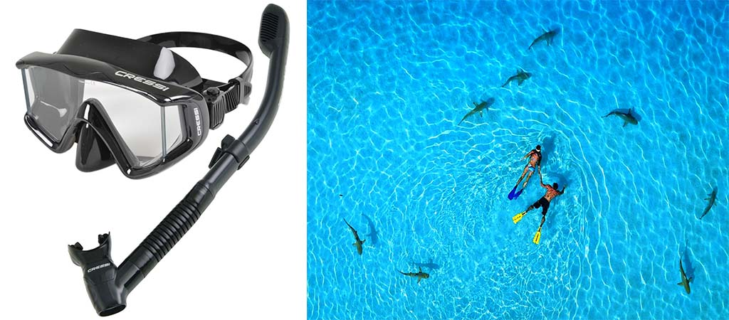 Cressi Panoramic Wide View Mask And Dry Snorkel Set