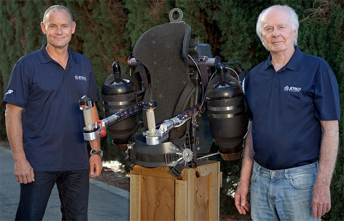 The founders of JB-9 Personal Jetpack