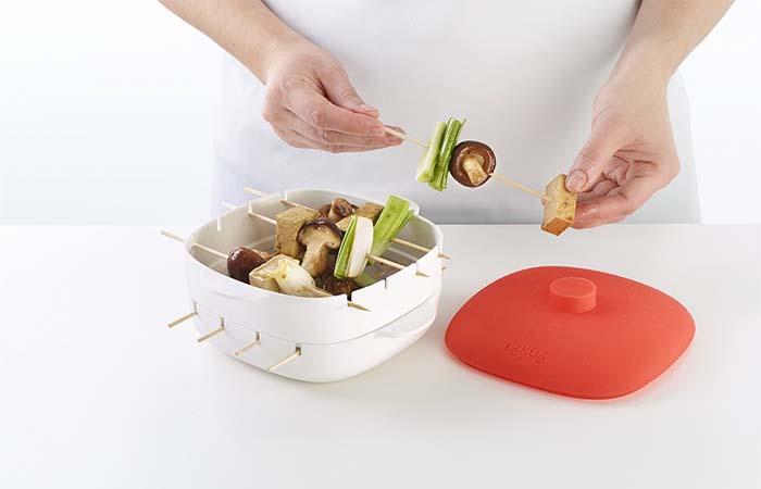 Making Vegetable Kabobs