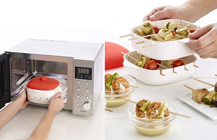 Putting Lekue Kabob Maker in the microwave and serving it on the table