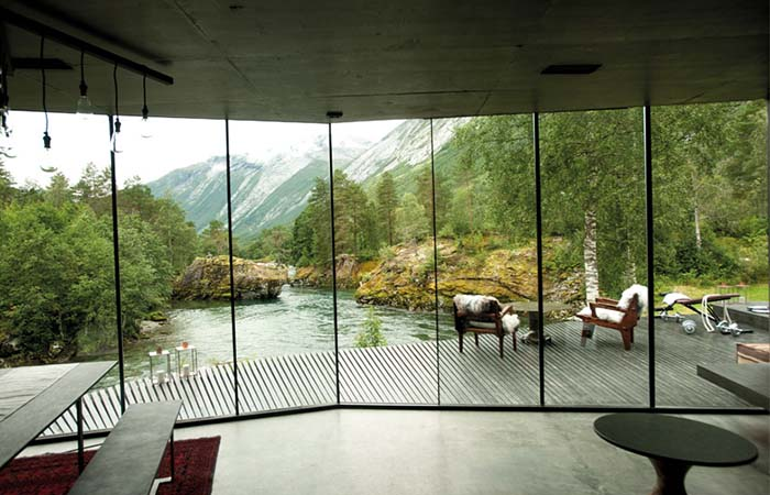 The view of the river from Norway's Juvet Landscape Hotel