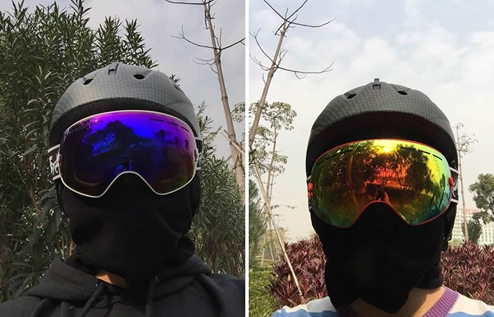 Two men with different types of Snow Goggles with Detachable Lens By Zionor