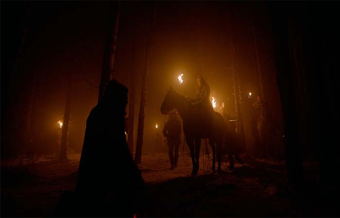 The Hugh Glass team in the forest during night