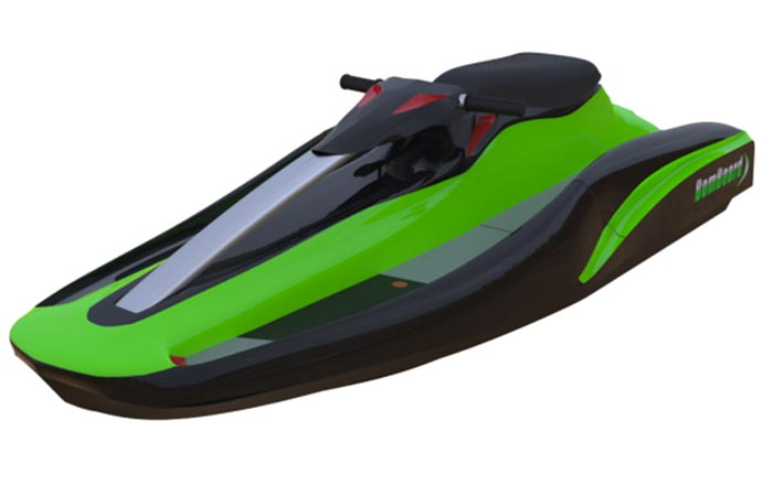 BomBoard - Portable Action Watercraft, side view, on a white background