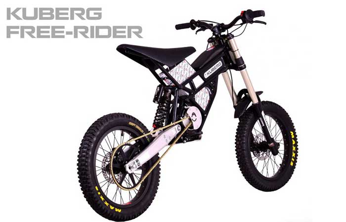 Kuberg Freerider Electric Bike on a white background, with a caption, side view.