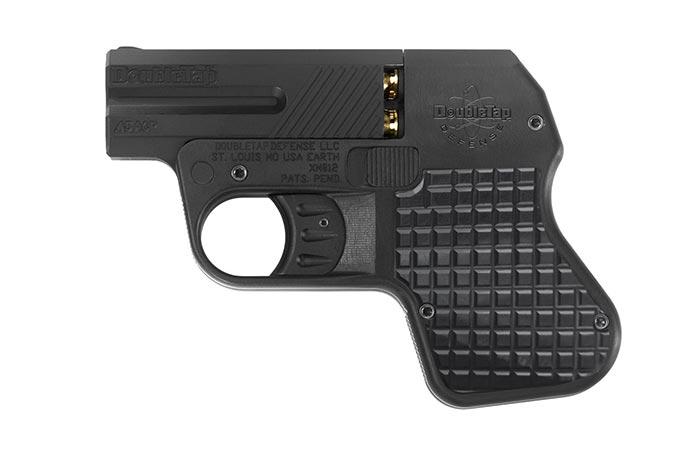 Black handgun captured from the side.
