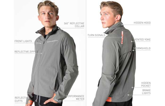 Lumenous All-weather Jacket, in gray color, with features mapped out on a white background.