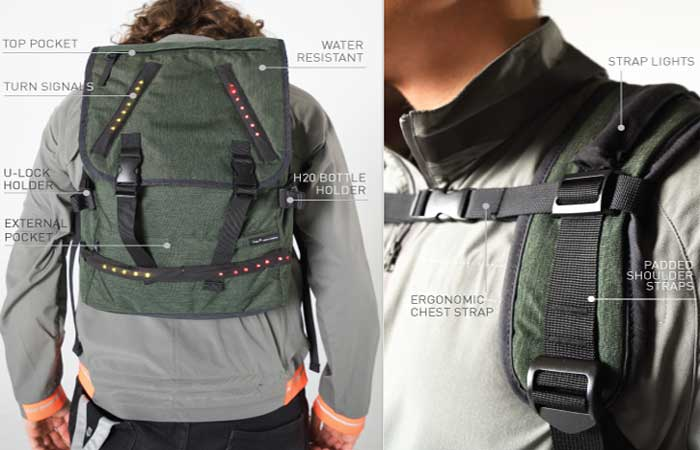 Lumenus Crossover Backpack in olive, worn, front view and chest straps.