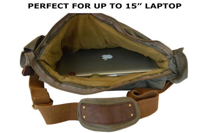 Military Style Messenger Bag, laid and unzipped, with a laptop inside, on a white background.