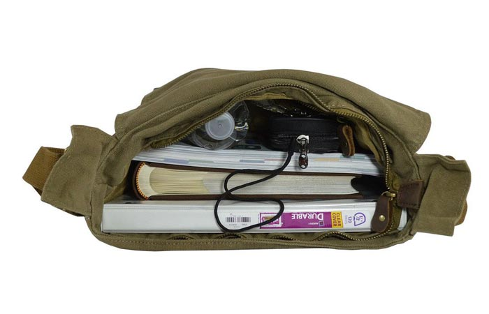 Military Style Messenger Bag , laid and unzipped, with books and a water bottle inside, on a white background.
