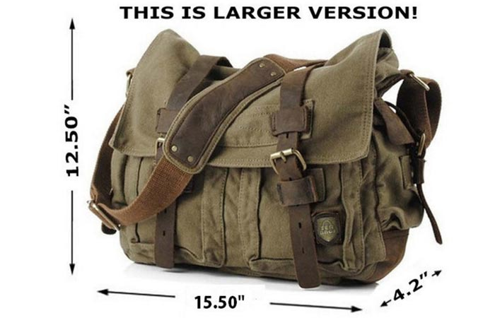 Serbags Military Style Messenger Bag , on a white background, with measurements.