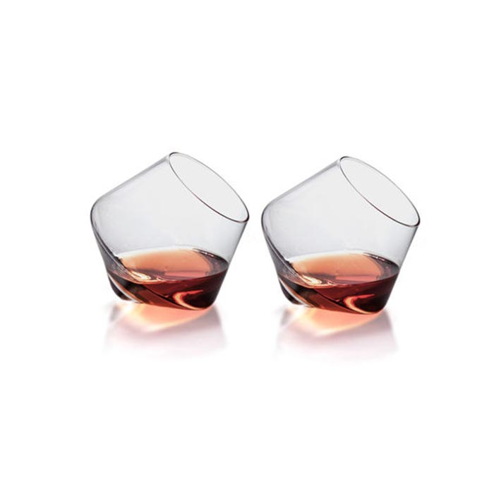 Two whiskey glasses captured from the front.