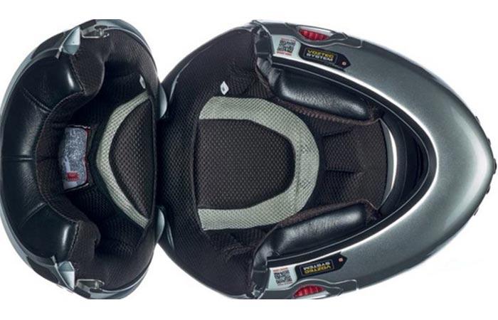 Vozz Helmet, open, upper view, inner, on a white background.