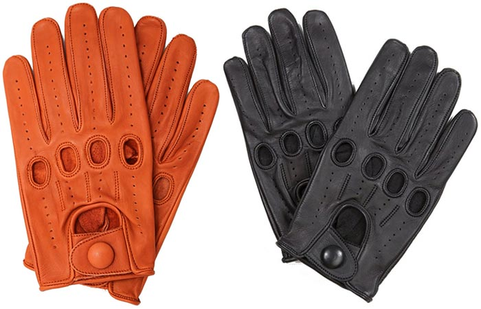 Genuine Leather Full-finger Driving Gloves by Riparo, tan and black, on a white background.