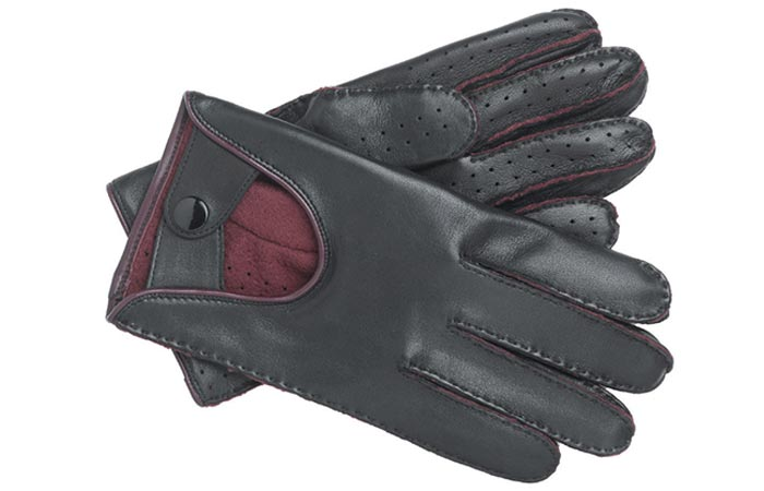 Men's Lined Leather Driving Gloves by Brighton, black, on a white background.