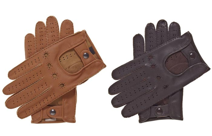 Men's Handsewn Deerskin Driving Gloves by Fratelli Orsini, tan and brown, on a white background.