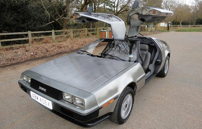 DeLorean captured from an angle.