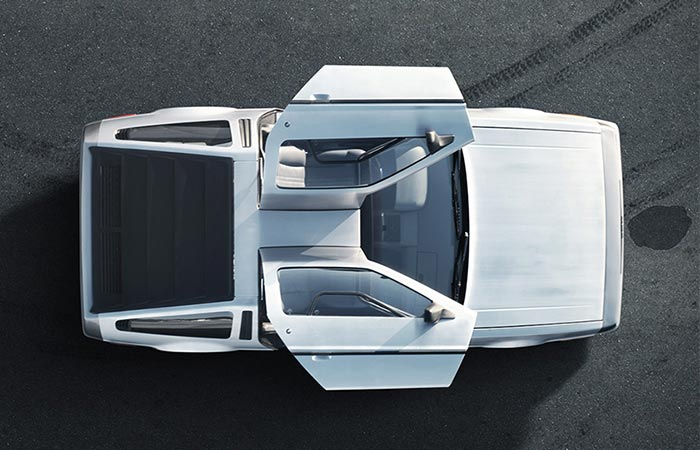 DeLorean captured from above.