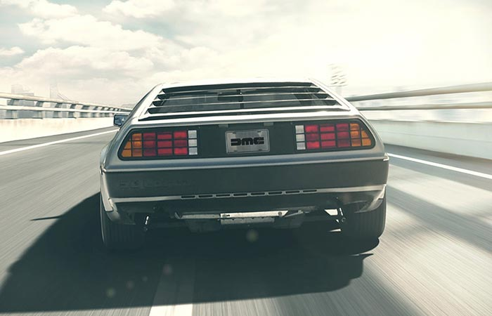 DeLorean captured from behind.