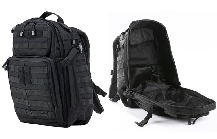 5.11 Rush 24 Tactical Backpack , black, tilted, closed, and open, on a white background.