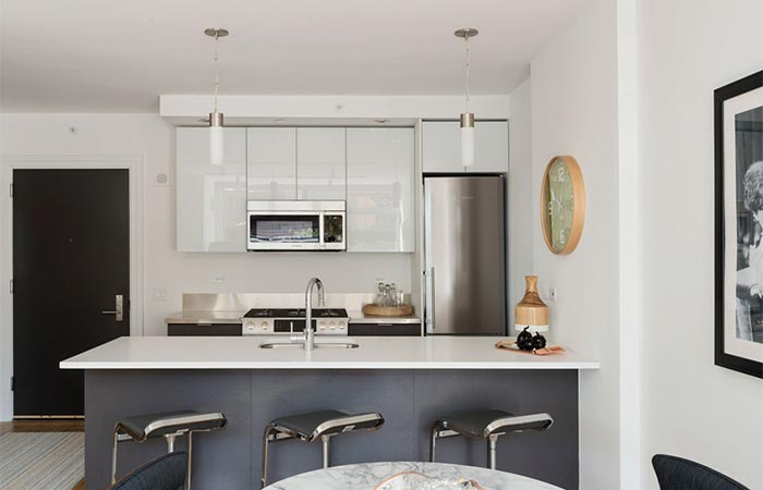 Brooklyn Apartment Building With Communal Roof Garden Kitchen And Dinning Area