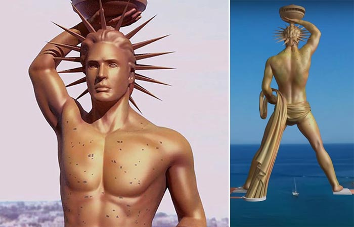 Colossus of Rhodes Project, front of the statue, upper, and back view, full.