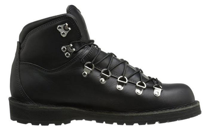 Danner Men's Mountain Pass Boot, Black Glace, side view, on a white background.