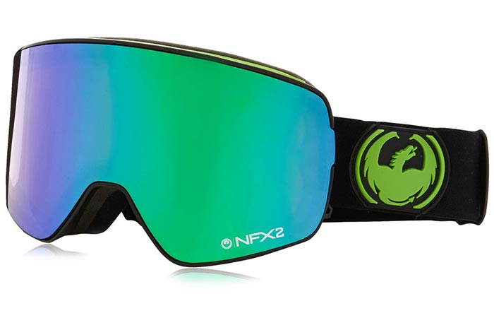 Dragon Alliance NFX2 Ski Goggles, Jet-Green Ion, tilted, on a white background.