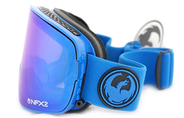 Dragon Alliance NFX2 Ski Goggles, blue, side view, on a white background.