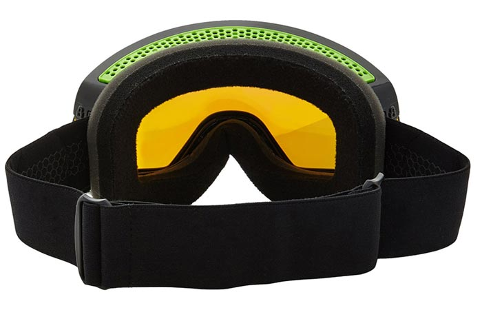 Dragon Alliance NFX2 Ski Goggles, back view showing the lens and lining from the inside, on a white background.
