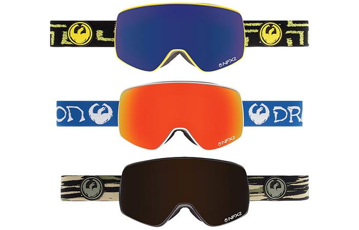 Dragon Alliance NFX2 Ski Goggles with blue. orange, and black lens, one above the other, on a white background.